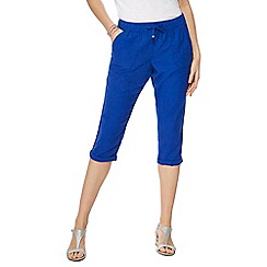 The Collection - Bright blue linen cropped trousers