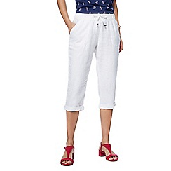 The Collection - White linen cropped trousers