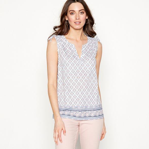 V neck tile White top sleeveless The Collection 'Ria' print xqXgTOR