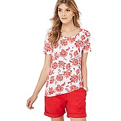 The Collection - White and red floral print t-shirt