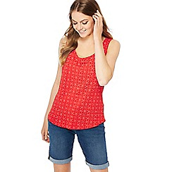 The Collection - Red spotted geometric print sleeveless vest top