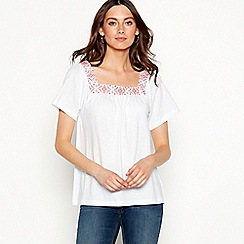 The Collection - White embroidered cotton blend square neck short sleeve top