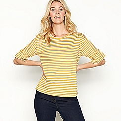 The Collection - Light yellow stripe print cotton three-quarter sleeve top