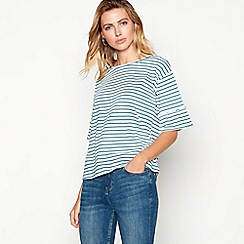 The Collection - Blue stripe print cotton three-quarter sleeve top