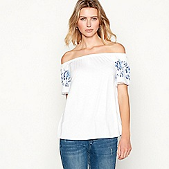 The Collection - White floral detail bardot neck short sleeve top