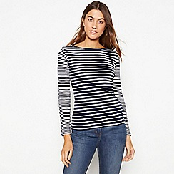 0bd7962a60cb5 The Collection - Navy mixed stripe print cotton long sleeve top