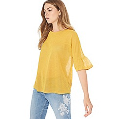 The Collection - Yellow knit ruffle sleeve top