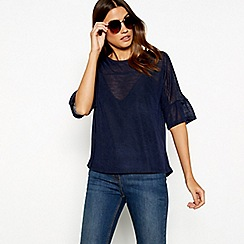 The Collection - Navy knit ruffle sleeve top
