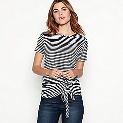 The Collection - Navy stripe print ruched side modal blend t-shirt