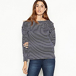 The Collection - Navy cotton breton stripe top
