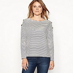 The Collection - Cream Breton striped button shoulder cotton top