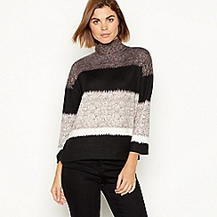 The Collection - Grey ombre stripe knit high neck jumper