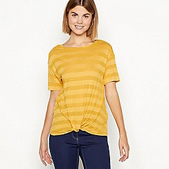 The Collection - Yellow stripe print twist front t-shirt