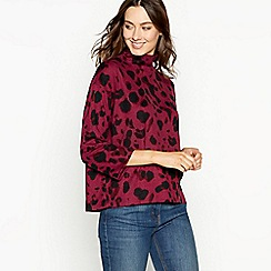 The Collection - Wine red animal print high neck top