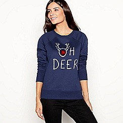 37896215733 The Collection - Navy cotton blend  Oh Deer  slogan sweatshirt
