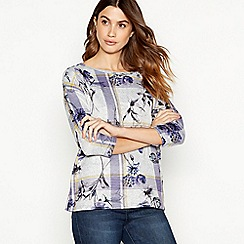 The Collection - Grey floral check print sweater top