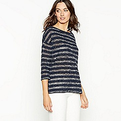 The Collection - Navy stripe knit 3/4 sleeve top