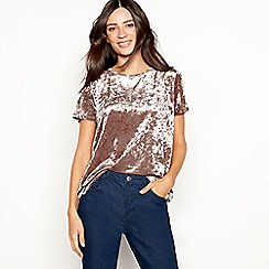 The Collection - Taupe velvet short sleeve top