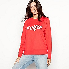The Collection - Red cotton blend 'Elfie' slogan Christmas sweatshirt