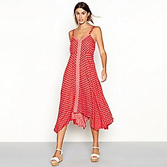 The Collection - Red diamond print V-neck high low maxi dress
