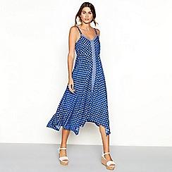 The Collection - Blue diamond print V-neck high low maxi dress
