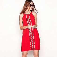 The Collection - Red embroidered crepe round neck sleeveless mini dress