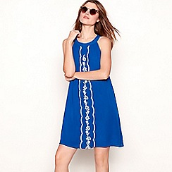The Collection - Blue embroidered crepe round neck sleeveless mini dress