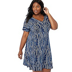The Collection - Blue stripe print V-neck short sleeve knee length plus size mock wrap dress