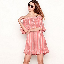 The Collection - Red stripe print cotton Bardot neck short sleeve mini dress