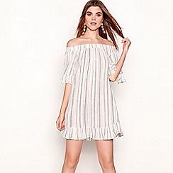 The Collection - Ivory stripe print cotton Bardot neck short sleeve mini dress