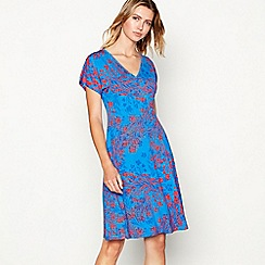 The Collection - Blue floral print V-neck short sleeve knee length mock wrap dress