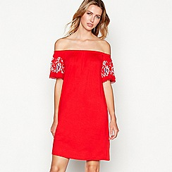 The Collection - Red floral detail short sleeve bardot mini dress