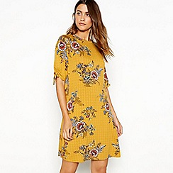 The Collection - Yellow floral print round neck short sleeve mini dress