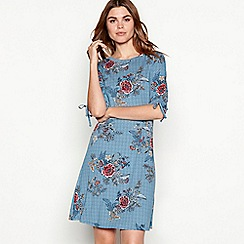 The Collection - Blue floral print round neck short sleeve mini dress