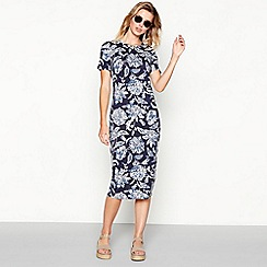 The Collection - Navy floral print round neck short sleeve midi dress