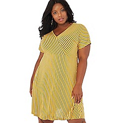 The Collection - Yellow stripe print jersey V-neck short sleeve knee length plus size dress