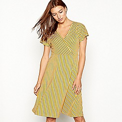 The Collection - Yellow stripe print jersey V-neck short sleeve knee length dress