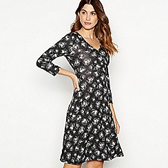 The Collection - Black ditsy floral print jersey mini dress