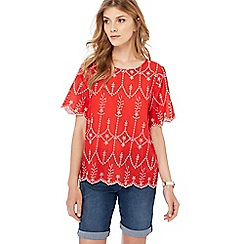 The Collection - Red broderie short sleeve top