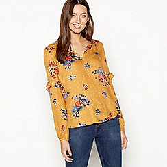 The Collection - Ivory floral spot print ruffle sleeve blouse