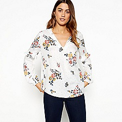 The Collection - Ivory floral spot print V-neck ruffle sleeve blouse