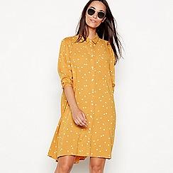 The Collection - Dark yellow spot print knee length shirt dress