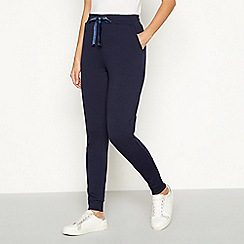 The Collection - Navy velvet eyelet detail joggers