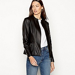 The Collection - Black collarless faux leather jacket