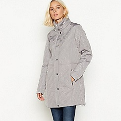 The Collection - Grey padded hooded longline jacket