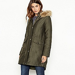 The Collection - Khaki green padded parka coat