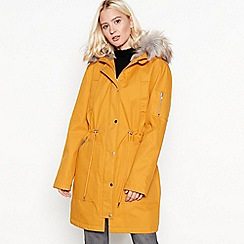 The Collection - Mustard yellow faux-fur lined parka coat