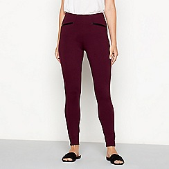 The Collection - Wine faux leather trim ponte leggings