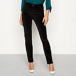 The Collection - Black velvet straight leg trousers
