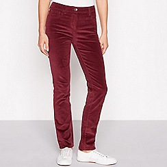 The Collection - Wine red stretch straight cord trousers